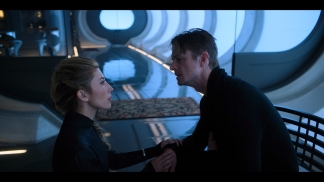 Dichen Lachman as Reileen Kawahara and Joel Kinnaman as Takeshi Kovacs in Altered Carbon (Netflix)