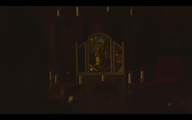 The OA P2Ep3 Reflection in Mirror When French Returns to Church- OA & Homer in Stained Glass
