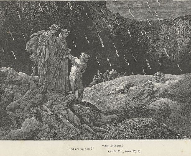 Dante's Inferno Plain of Burning Sand Canto 15 Verses 28-29 by Gustav Dore