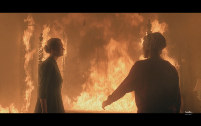 Handmaid's Tale S3Ep1 June & Serena in Fiery Bedroom 1