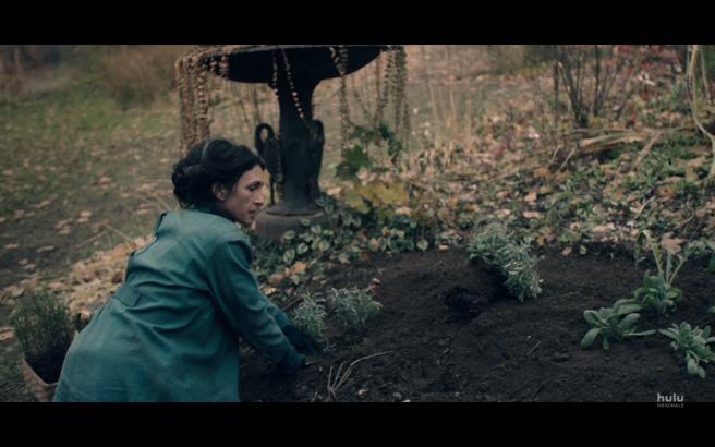 Handmaid's Tale S3Ep2 Eleanor in Grave Garden