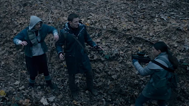 The Rain S2Ep6 Kira Holds Martin & Patrick at Gunpoint