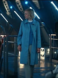 Star Trek Picard S1 E3 Agnes in Blue Spy Trench Coat on La Sirena
