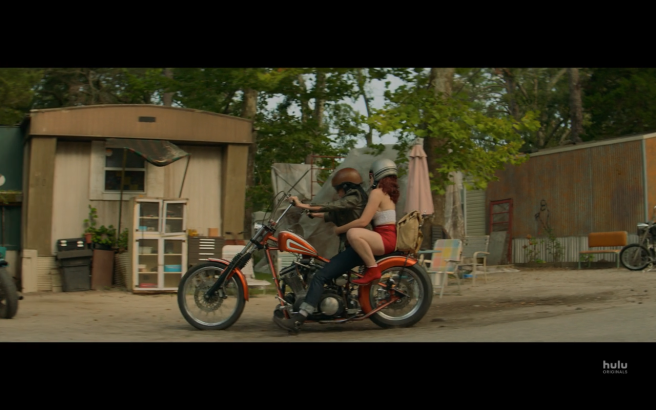 Reprisal S1E6 Gertrude & Meredith on Bike