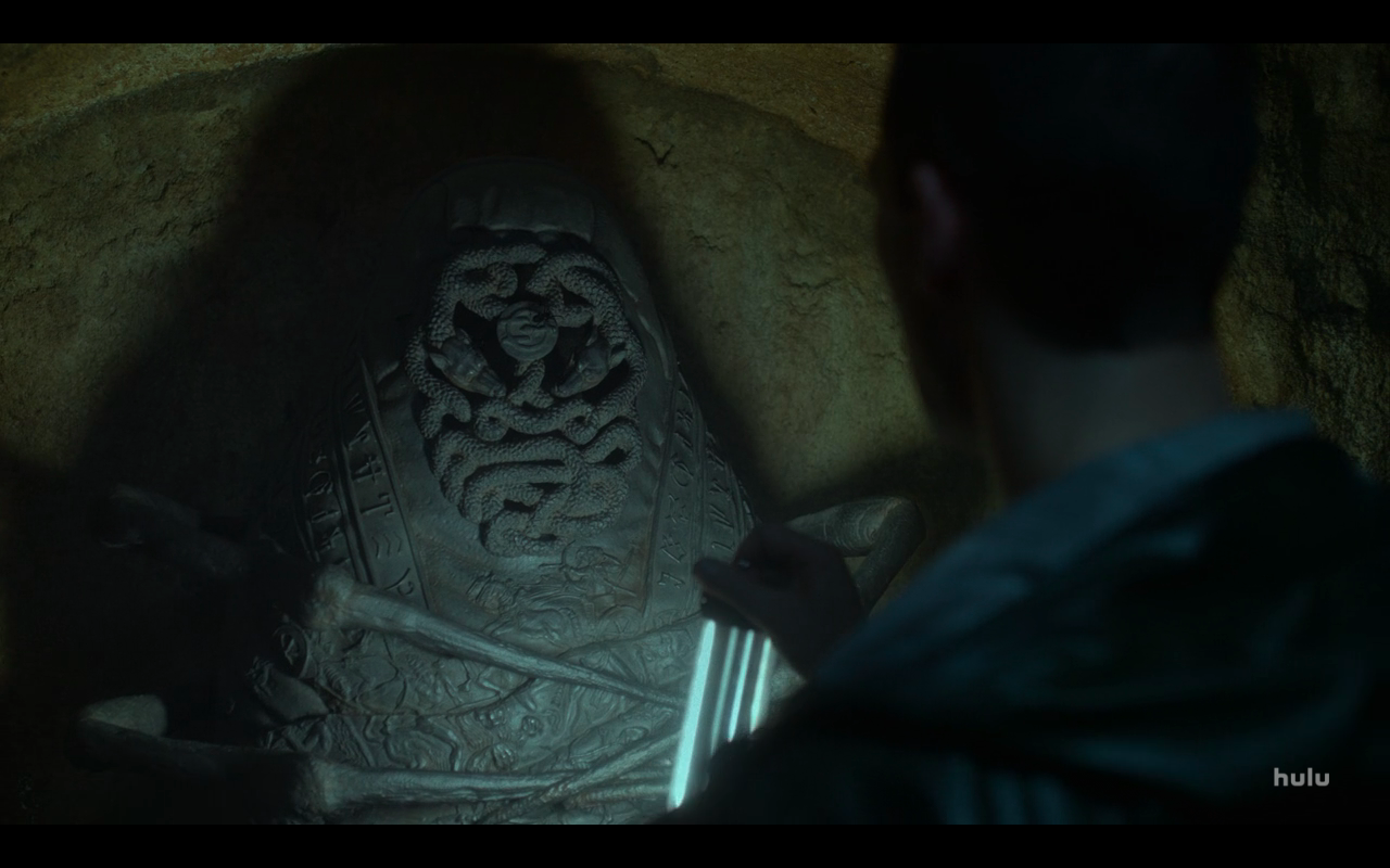 Hellstrom S1Ep1 Sarcophagus in Tomb