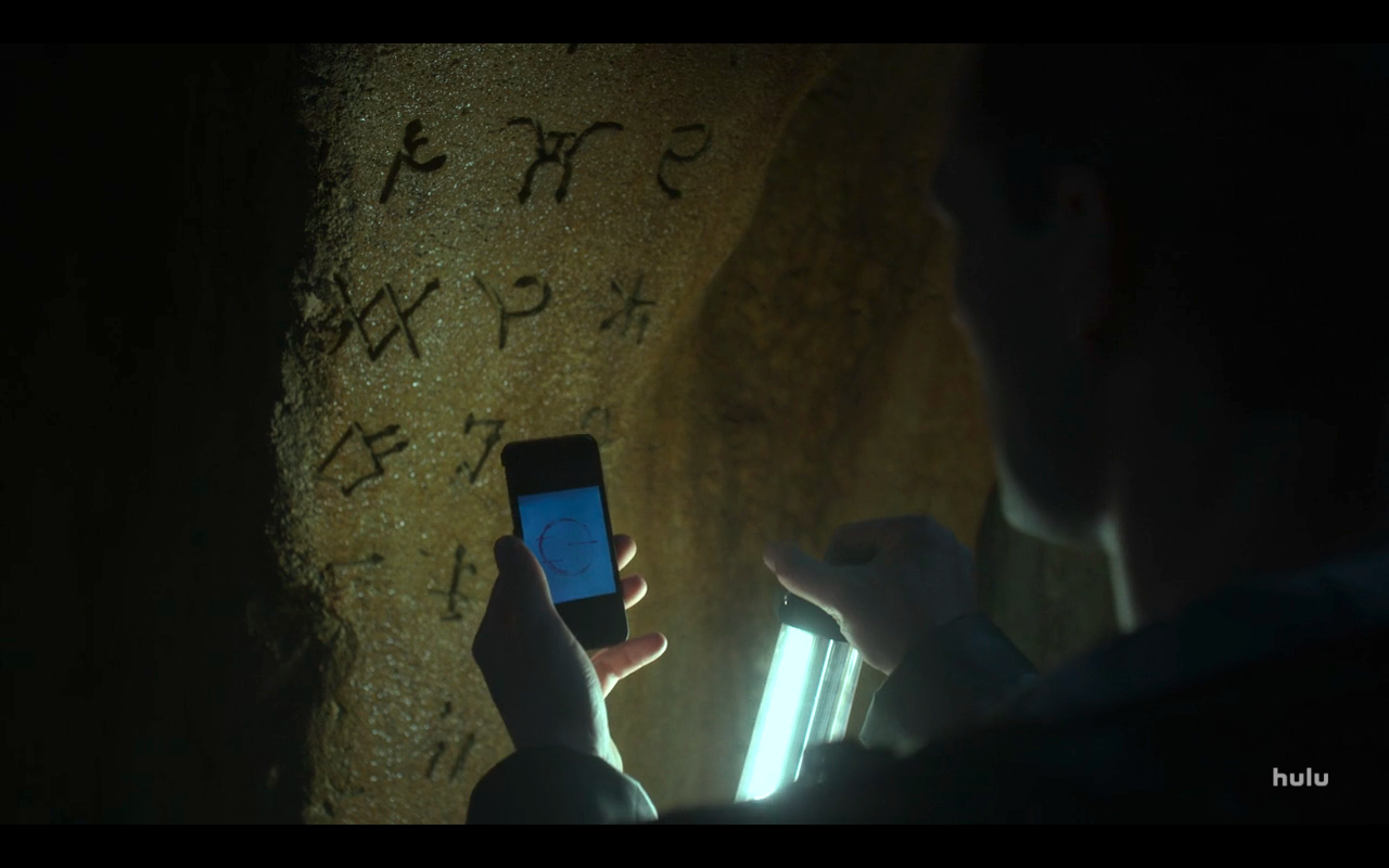 Helstrom S1Ep1 Spivey Views Glyphs in Tomb