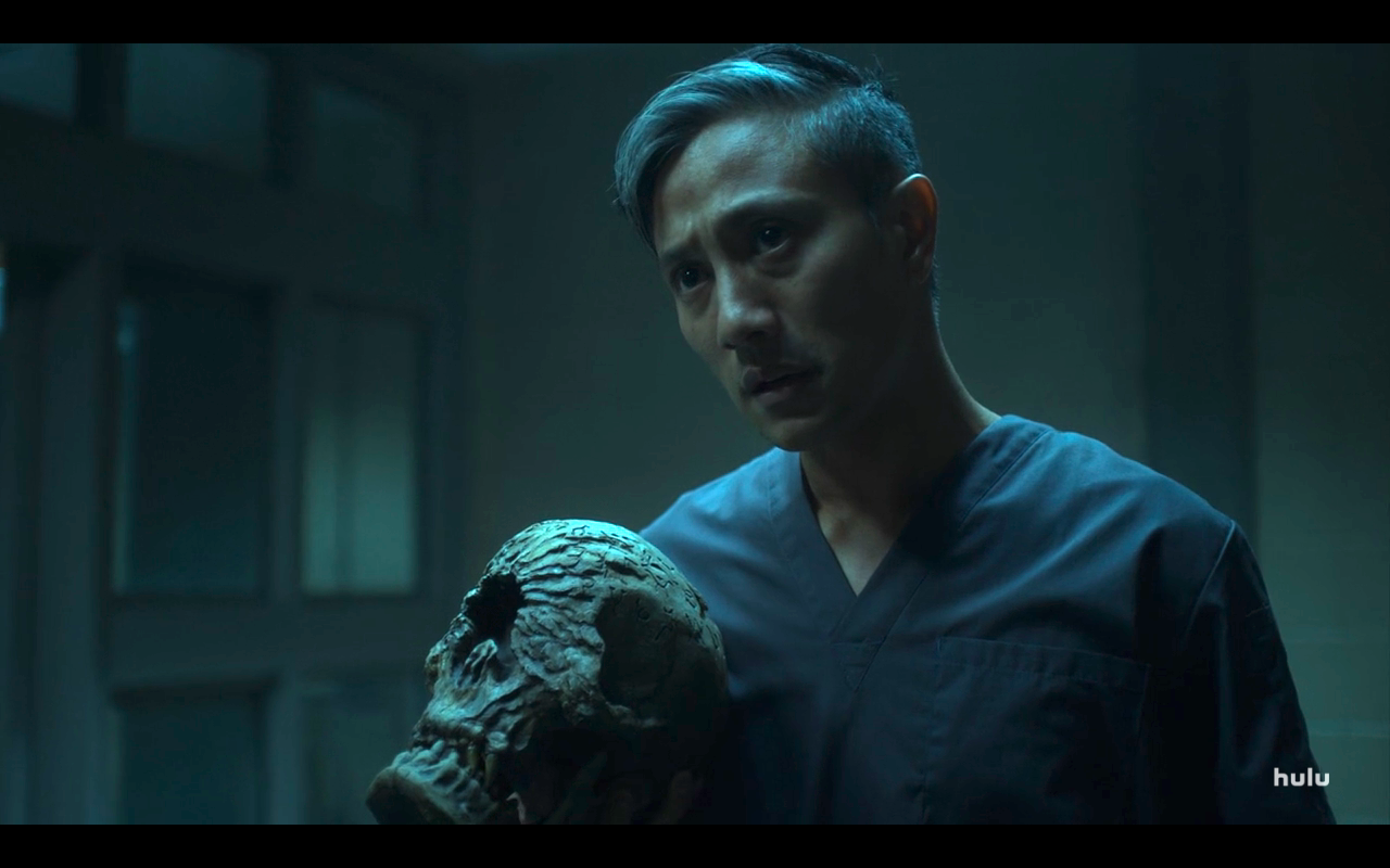 Helstrom S1Ep5 Chris in Hall with Skull
