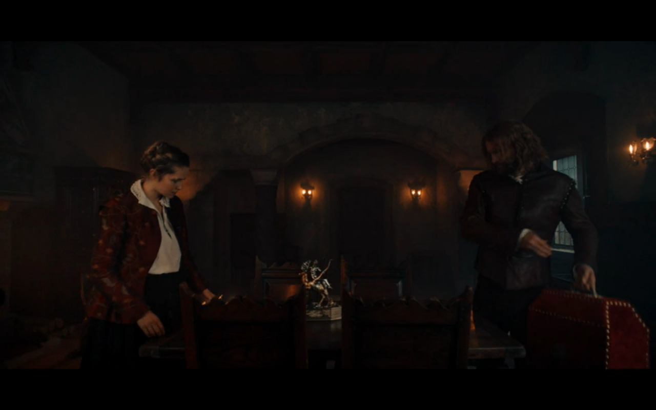 Disc of Witches S2Ep7 Diana & Gallowglass with Automaton