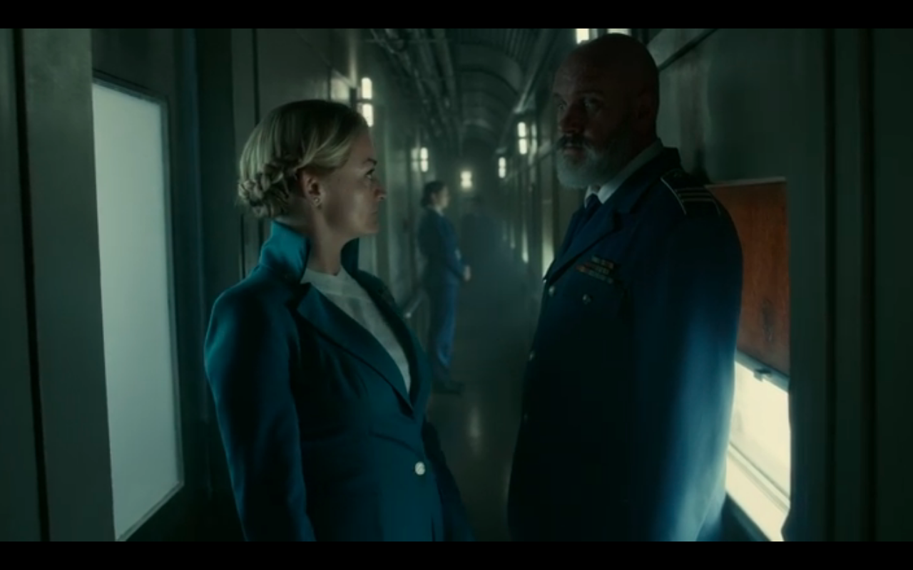 Snowpiercer S2Ep7 Ruth & Roche Look into Each Other's Eyes